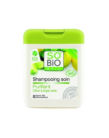 SO'BIO shampoing PURIFIANT CITRON/ARGILE VERTE
